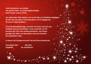 Weihnachtsgrüße An Eltern.Emil Thoma Realschule Weihnachtsgrüße Der Schulleitung Der Etrs